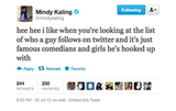Mindy Kaling has guys' Twitter habits down to a science.