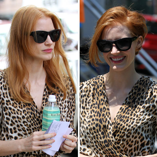 Jessica Chastain Wears a Very Convincing Wig On the Set of Her New Film