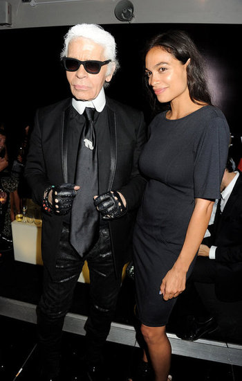 Karl Lagerfeld and Rosario Dawson