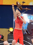 Gwen Stefani rocked out on stage with No Doubt for an appearance on Good Morning America.