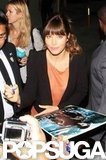 Jessica Biel signed autographs outside of The Tonight Snow With Jay Leno in LA.