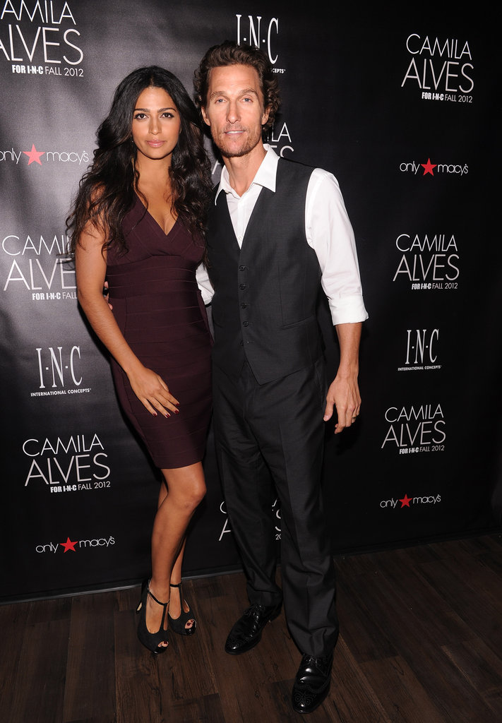 Camila Alves had husband Matthew McConaughey by her side as she was unveiled as brand ambassador for INC in NYC.