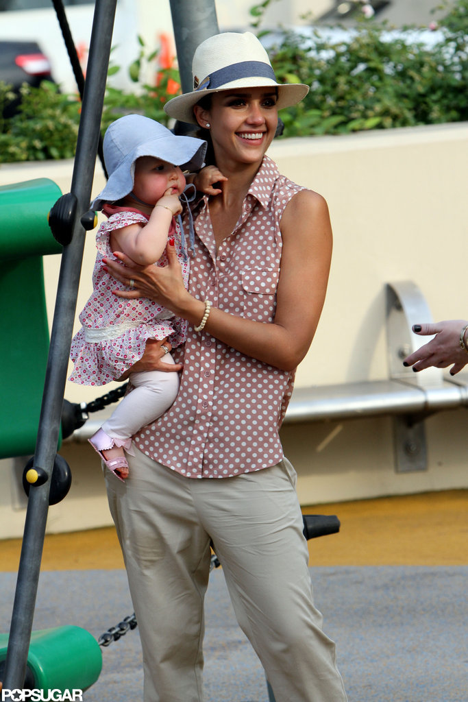 Jessica Alba smiled and held Haven on an NYC playground.