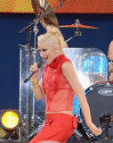 Gwen Stefani rocked the mic on Good Morning America in NYC.