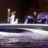 David Beckham Driving Olympic Torch Boat at Opening Ceremony