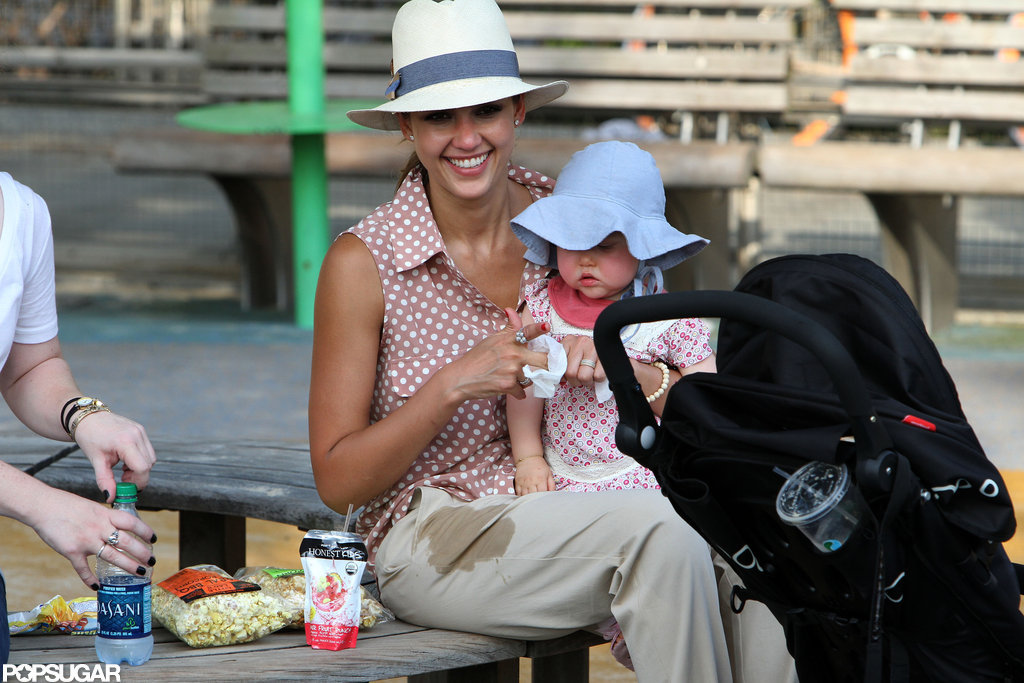 Jessica Alba held Haven on her lap on the playground.