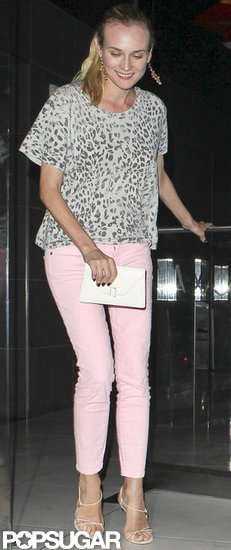 Diane Kruger stepped out in pastel pink jeans.