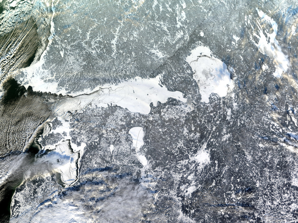 The chill of Nordic nation Finland and its Olympic host city Helsinki is on display in this NASA image, which captured a record level of sea ice in the Gulf of Finland.