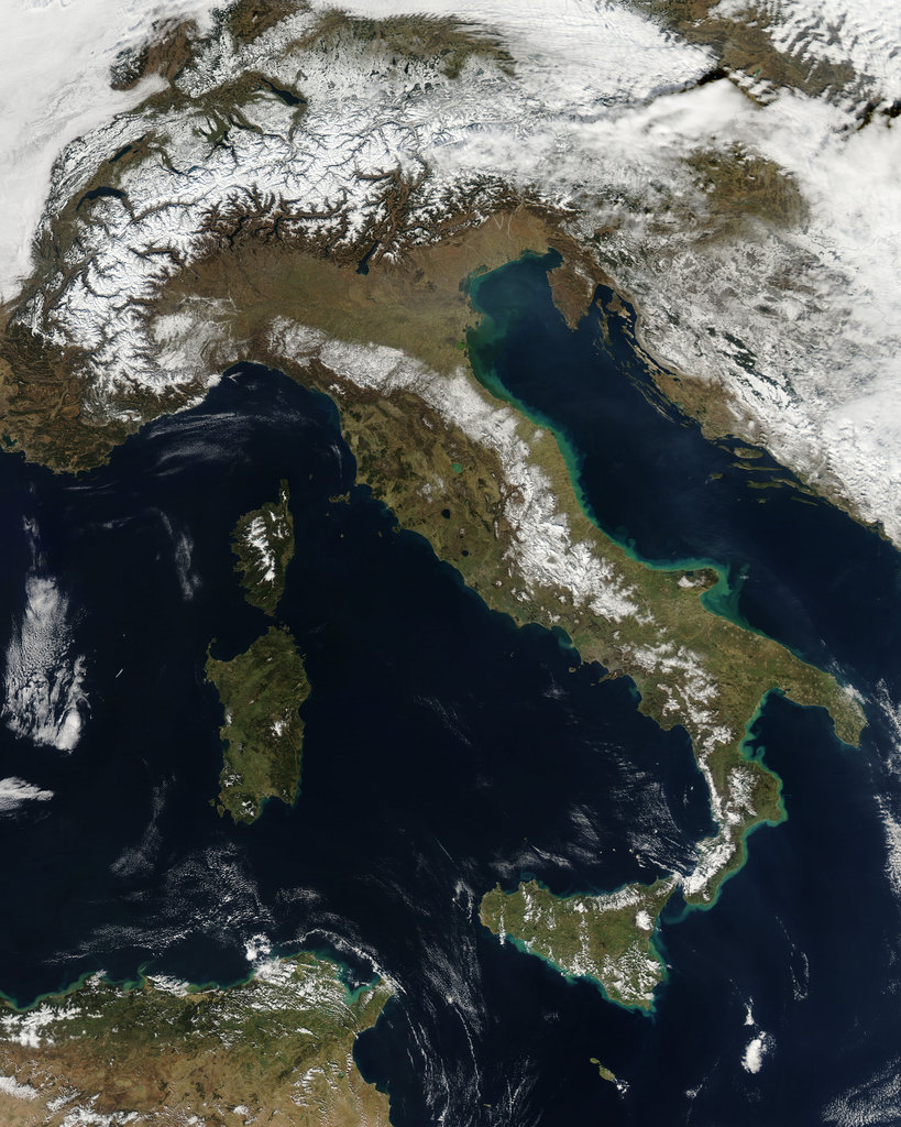 Host city Rome had a coating of snow when spotted by a satellite.