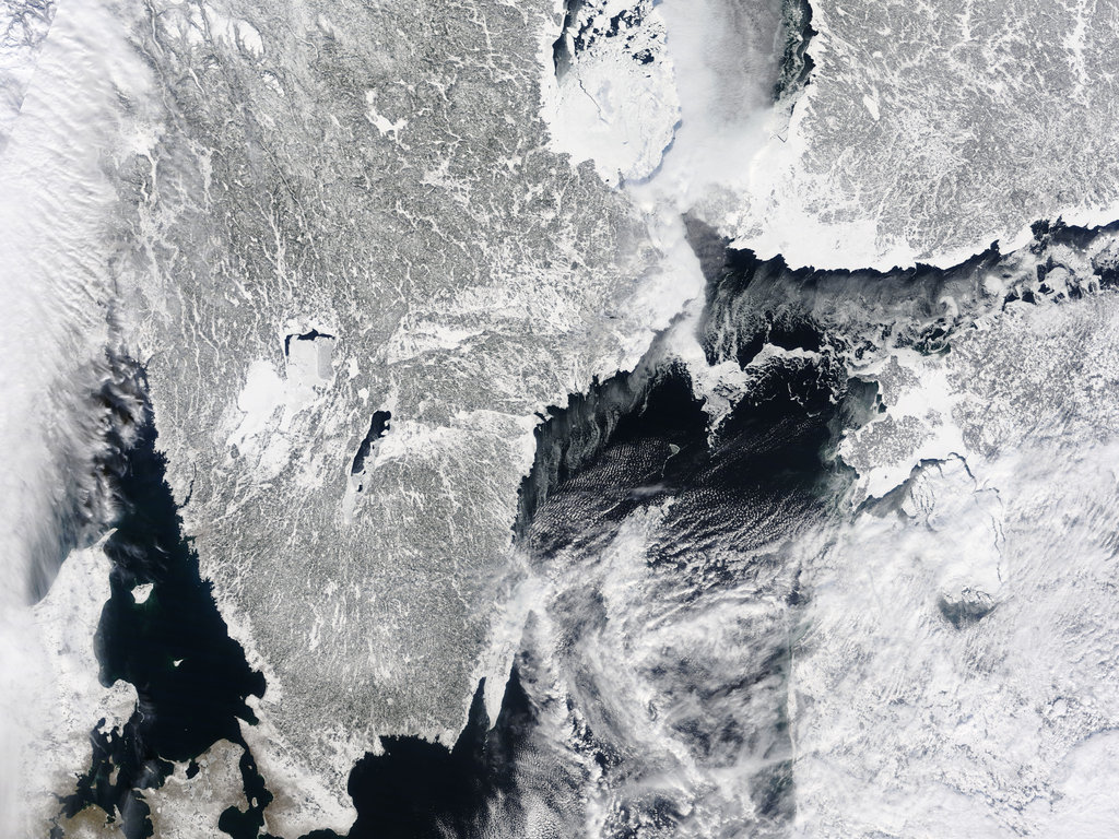 Stockholm, Sweden, is coated in ice and snow as seen in this satellite image from March 2010.