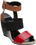 Bold colorblock detailing on this Pierre Hardy tricolor wedge is perfect for pairing with cropped trousers and crisp shorts.