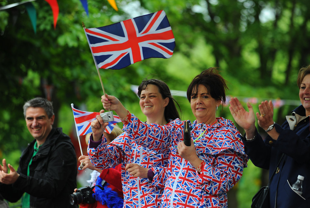 Fans donned Union Jack outfits in Burnley, England.
