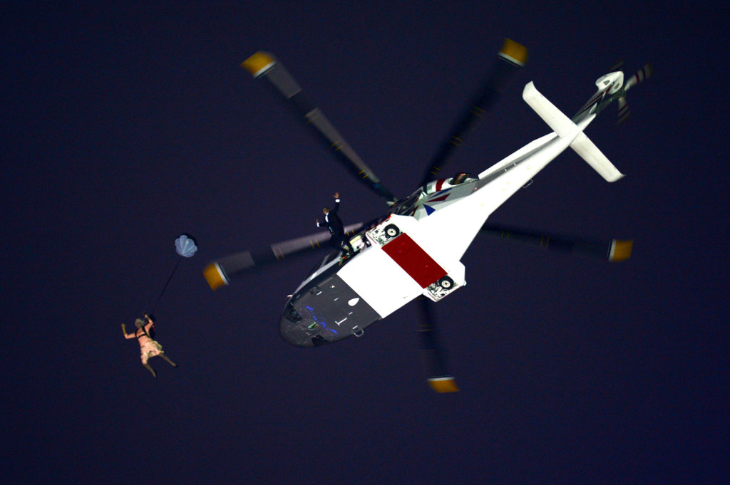 A person dressed as the queen dropped from a helicopter at the opening ceremony.