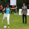 Michelle Obama and David Beckham Play Soccer