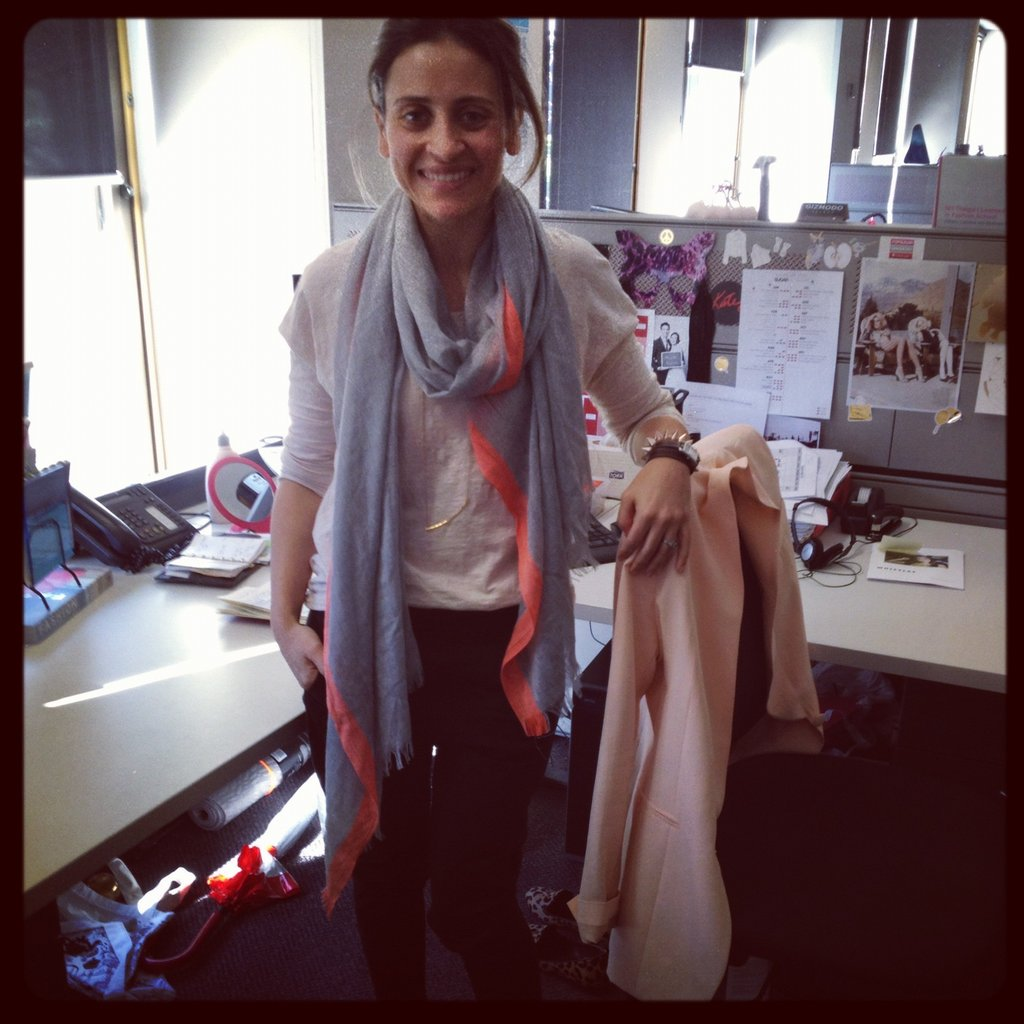 Publisher Marisa is working a neon-tinged scarf from Seed, Country Road top, Scanlan and Theodore pants and a Gorjana fine gold necklace.