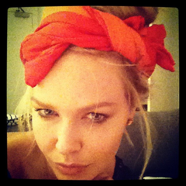Lara Bingle wore a headscarf while packing. Source: Instagram user mslbingle