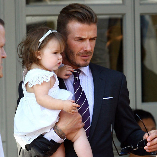 David and Victoria Beckham Take Harper to Lunch in London Pictures