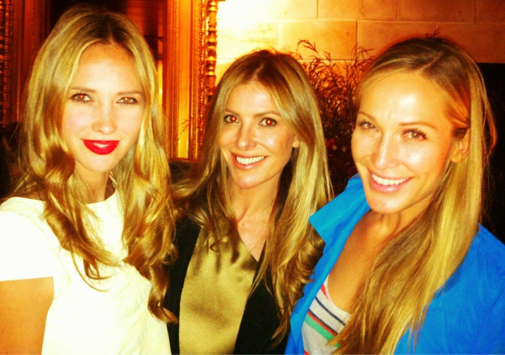Nikki Phillips, Laura Csortan and Erika Heynatz mingled at an Estée Lauder event. Source: Twitter user nikkikphillips