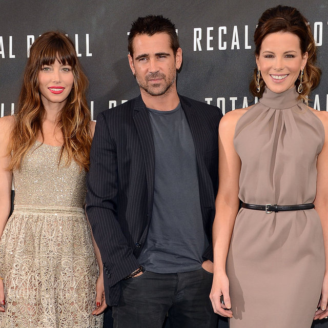 Jessica Biel, Kate Beckinsale and Colin Farrell Attend a Photocall in Beverly Hills for Total Recall