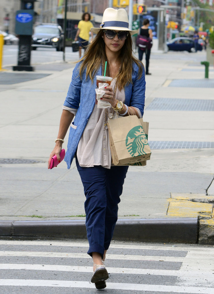 Jessica Alba walked in NYC looking cute and casual.