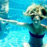She took a dip in a swimming pool in July 2012. Source: Instagram user barrefaeli