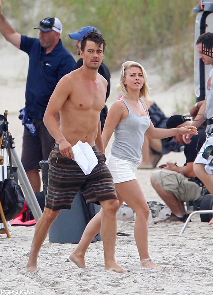 Julianne Hough wore short white shorts on the beach.