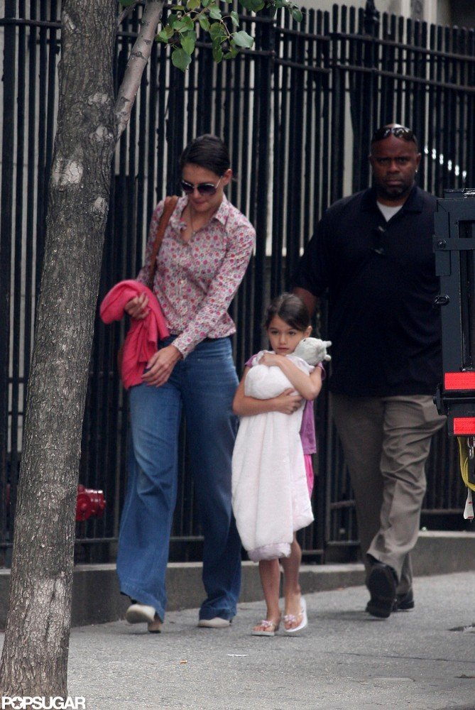 Katie Holmes and Suri Cruise wore matching pink.
