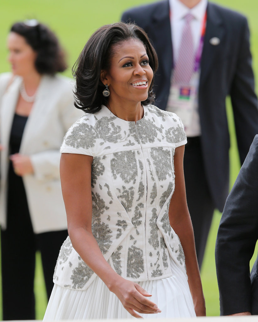 A close-up of the gorgeously intricate embellishments on Michelle's J. Mendel top.