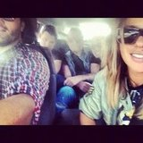 Pip Edwards and her friends squeezed into one car to get to Splendour. Source: Instagram user pip_edwards1