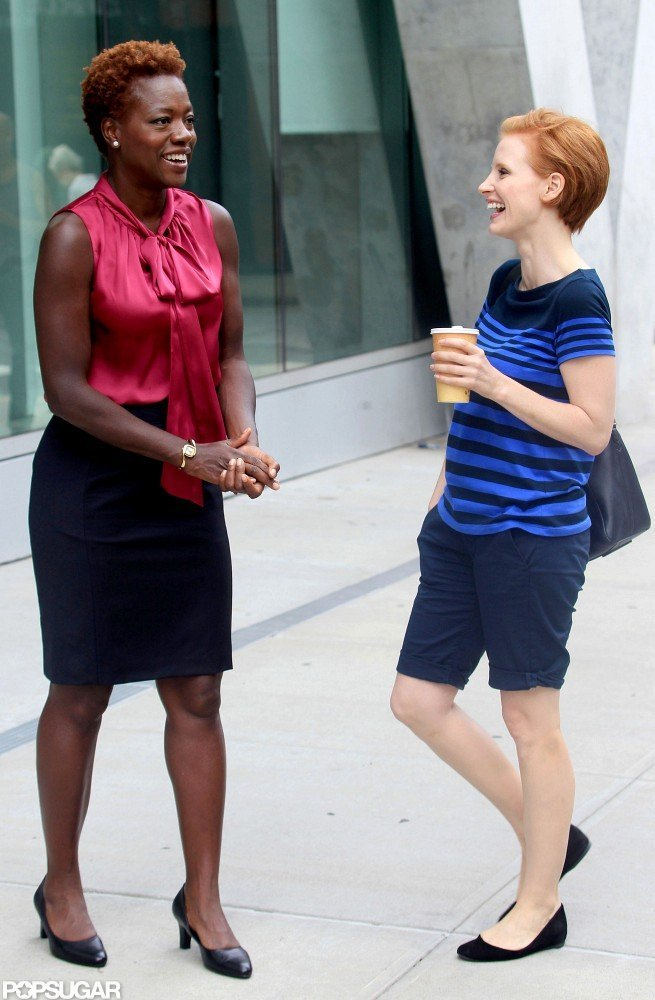 Viola Davis and Jessica Chastain shared a laugh on the set.