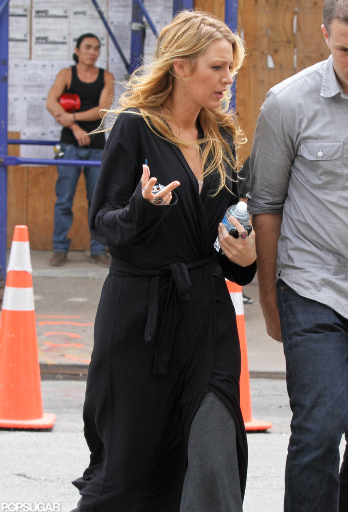 Blake Lively had her hands full while on the set of Gossip Girl in NYC.