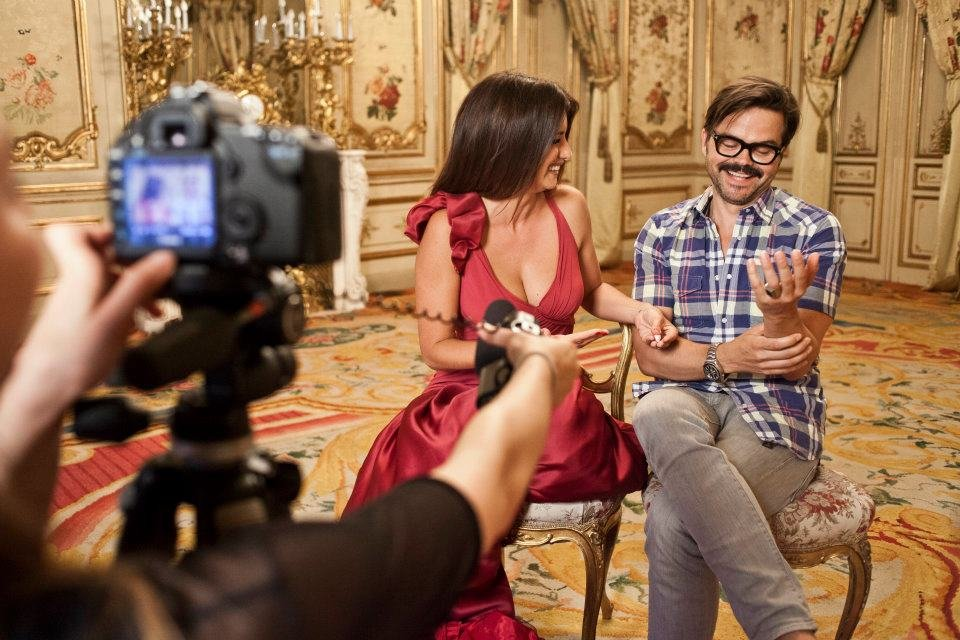 Penélope Cruz chatted with photographer Kristian Schuller on the set of Campari's 2013 calendar. Source: Facebook user Campari