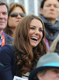 The Duchess of Cambridge laughed while watching Prince William's cousin Zara Phillips compete.