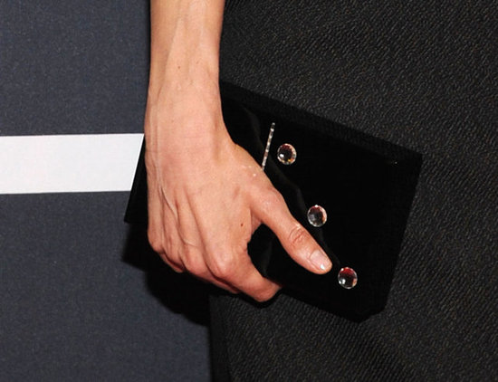 A closer look at Rachel's Charlotte Olympia Pandora Domino clutch.