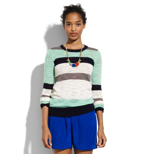 Stripes are always a classic staple, but done up in mint green and black they signal a fresh start for a new season.
