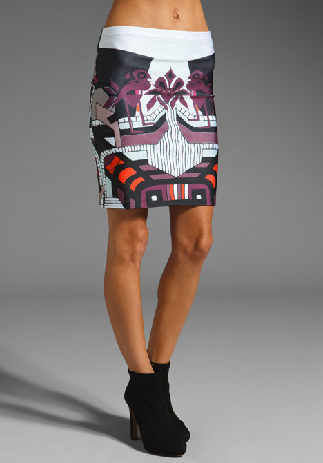 Not only do we love the graphic print on this skirt, but the neoprene fabrication also gives us serious beach vibes. Clover Canyon Graphic Sunrise Neoprene Skirt ($158)