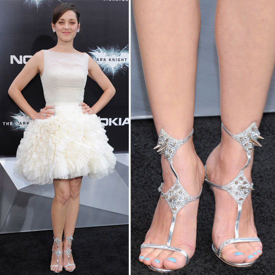 Marion Cotillard stunned in ballerina-inspired Christian Dior Couture. To add interest, she wore Christian Louboutin's spiked Lady Max sandals.
