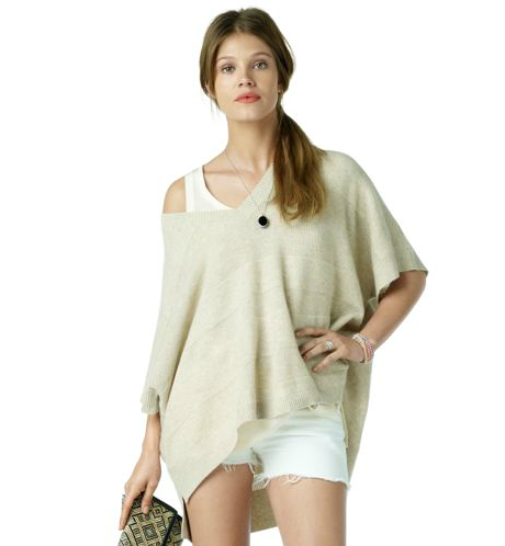 This modern update on the poncho is an effortless version you can throw on to add volume to skinny pants or a slim-fit skirt. We love the idea of pairing this with a leather pencil skirt at the office.  Club Monaco Priscilla Cashmere Poncho ($289)
