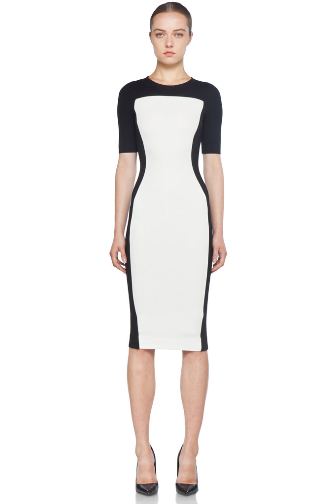 Fake an hourglass figure with Stella McCartney's curve-hugging short-sleeved dress.  Stella McCartney Short Sleeve Dress in Black & White ($795)
