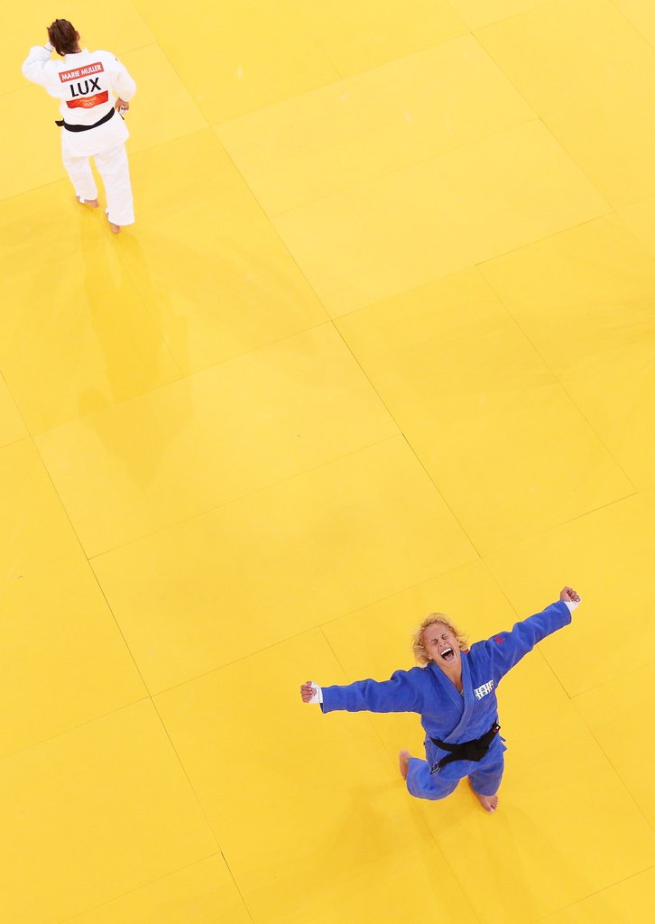 Rosalba Forciniti of Italy was exuberant after winning the bronze medal in a judo match.