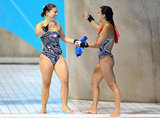 Canadian divers Roseline Filion and Meaghan Benfeito went in for a hug after winning the bronze in the women's synchronized 10m platform diving contest.