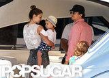 Miranda Kerr and Orlando Bloom boarded a yacht with Flynn.