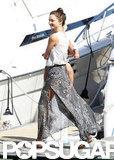 Miranda Kerr carried Flynn onto a yacht.
