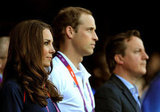 Prince William, Kate Middleton, and David Cameron watched the track action on day eight.