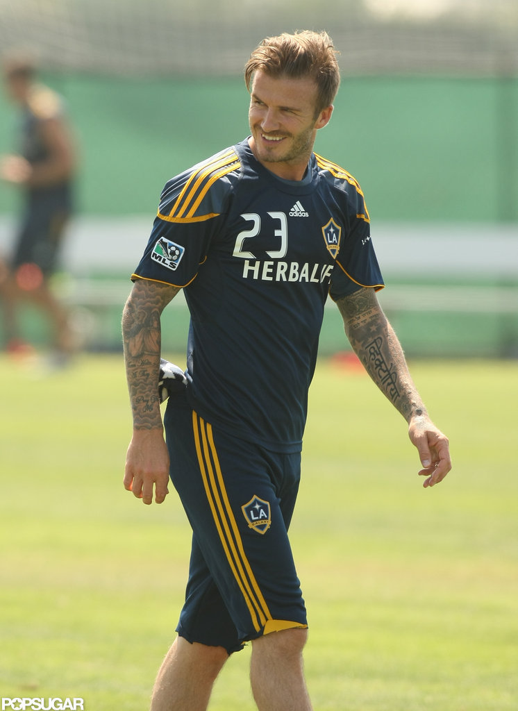 David Beckham gave a laugh at practice.