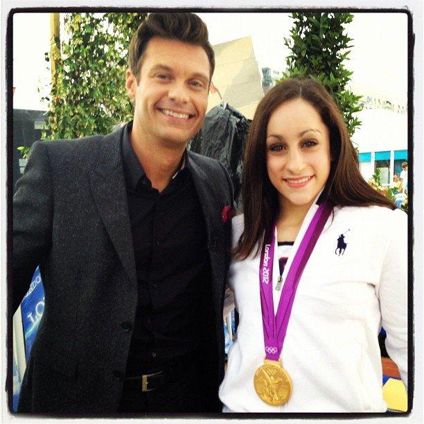 Jordyn Wieber chatted with Ryan Seacrest after her gold medal win.  Source: Twitter user jordyn_wieber