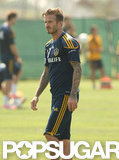 David Beckham made his way across the field during practice in LA.