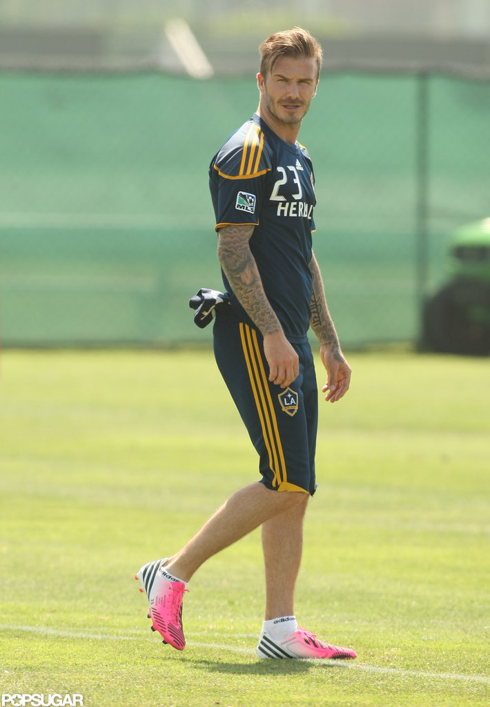 David Beckham wore bright-colored cleats.