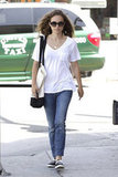 Natalie Portman went out for an early meal in LA.