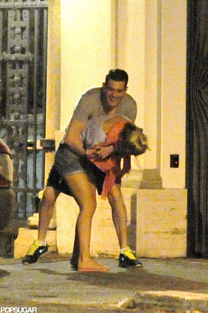 Michael Bublé and wife Luisana Lopilato joked around after a dinner date in Rome.